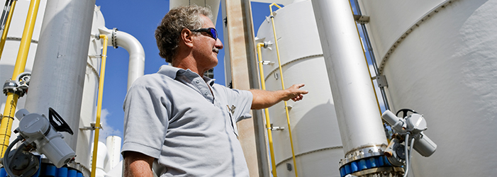 Worker gesturing toward plant equipment